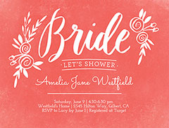 Watercolor Bride Shower Invitation
