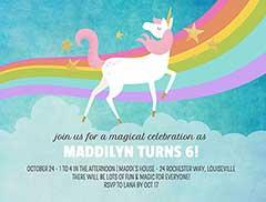 Rainbow Unicorn Invitation